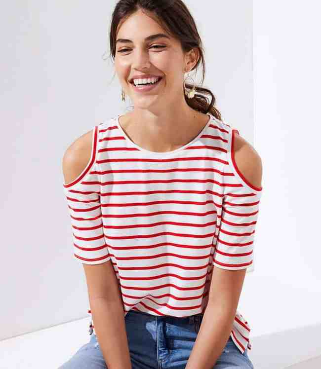 STRIPED COLD SHOULDER TEE