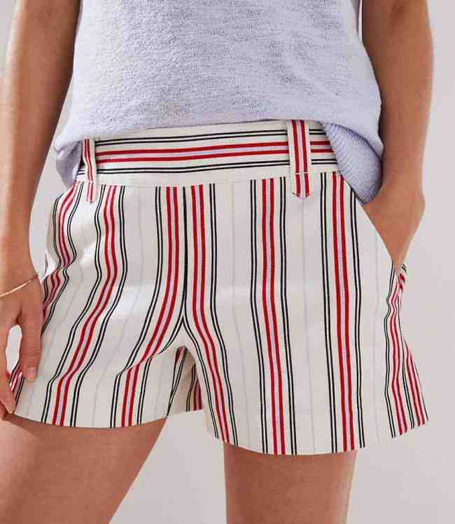 STRIPED SIDE ZIP SHORTS