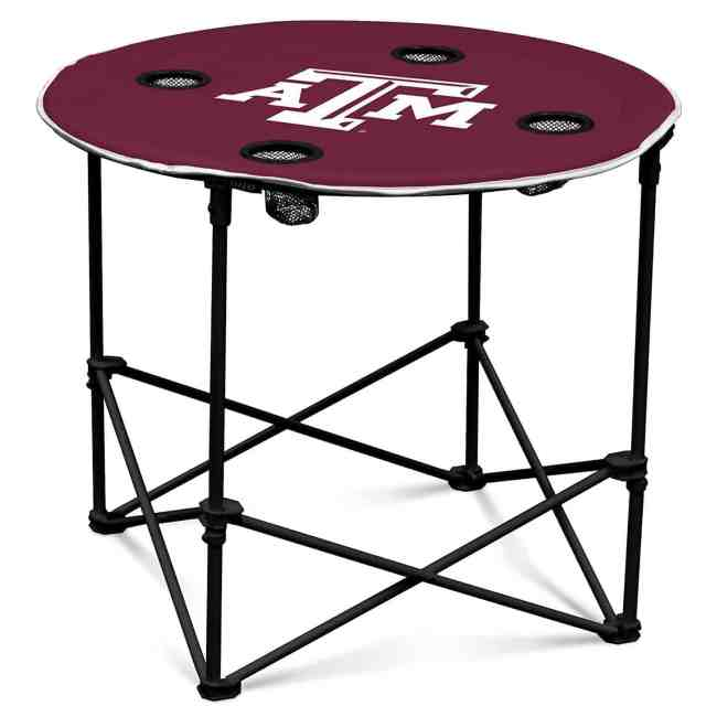 Collapsible Round Table with 4 Cup Holders and Carry Bag