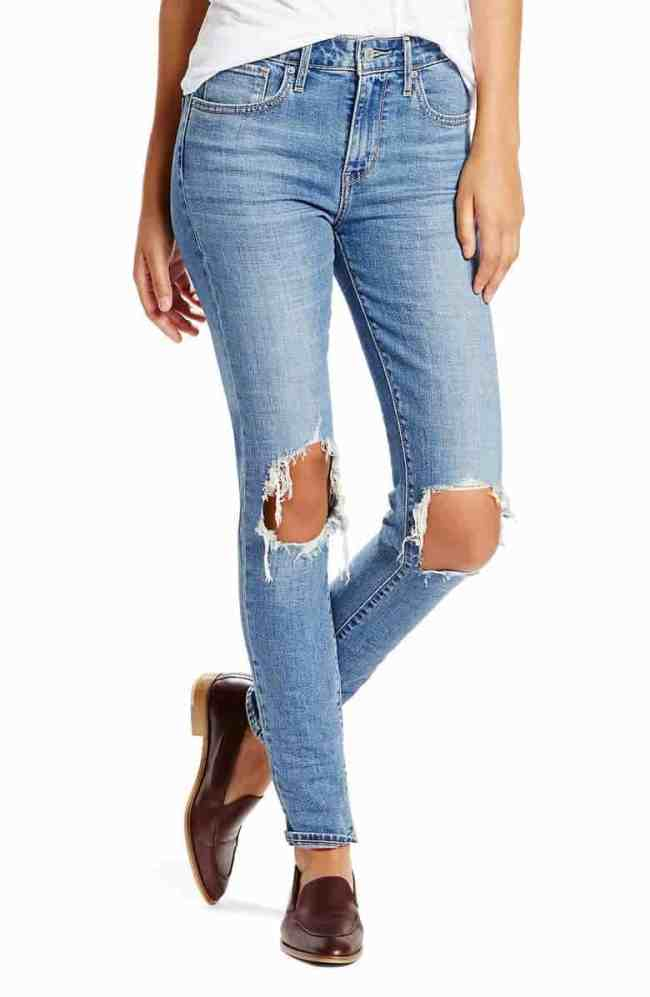 Levis Ripped High Waist Skinny Jeans