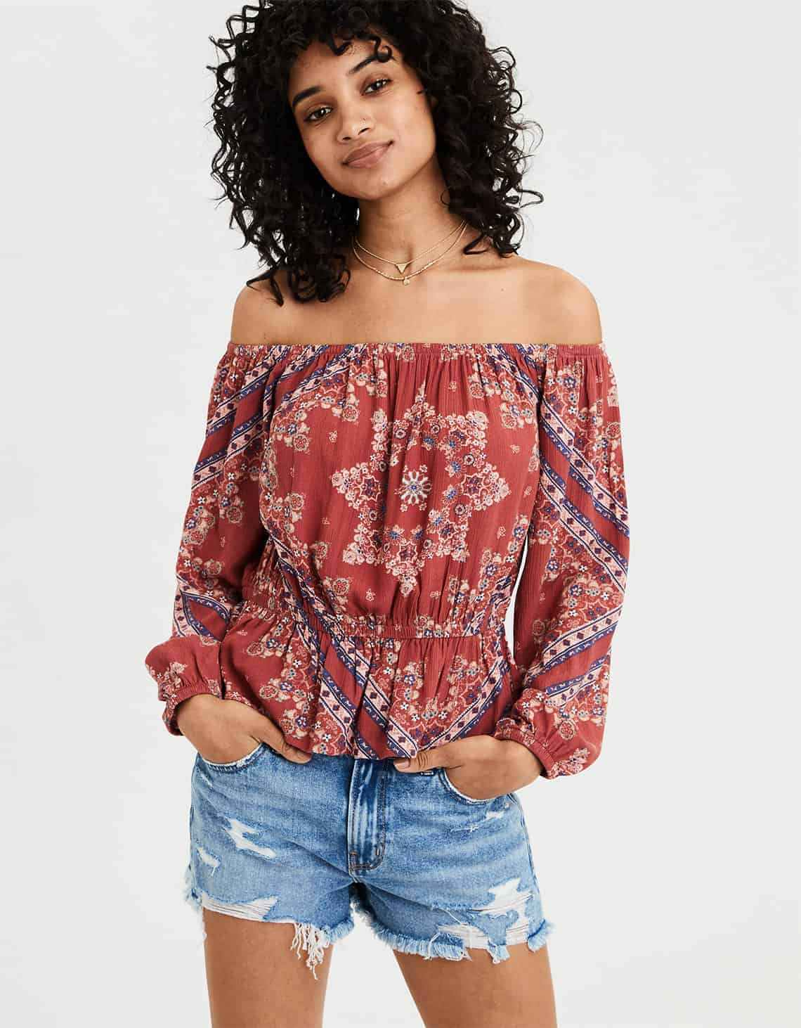 AE OFF THE SHOULDER PUFF SLEEVE TOP