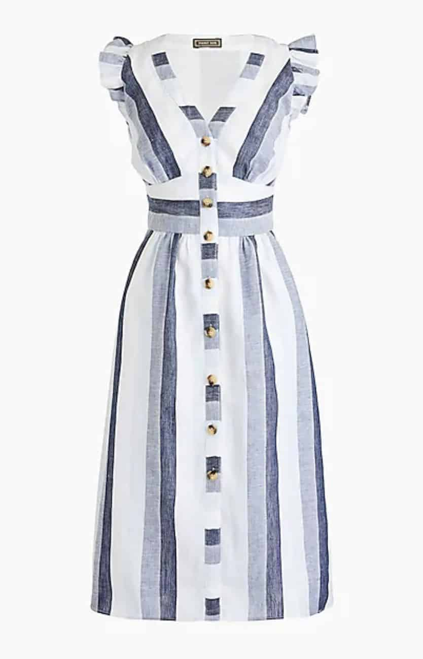 spring dress button front linen midi dress