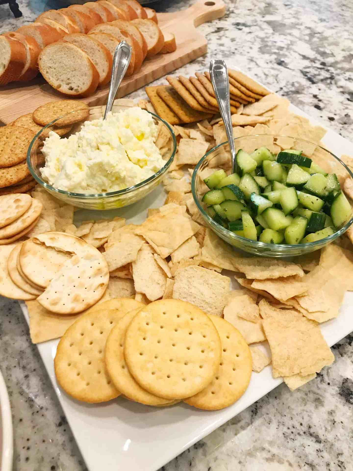 whipped feta and marinated cucumbers