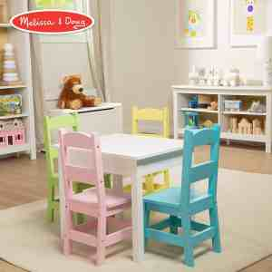 Wooden Playroom Table with 4 Chairs