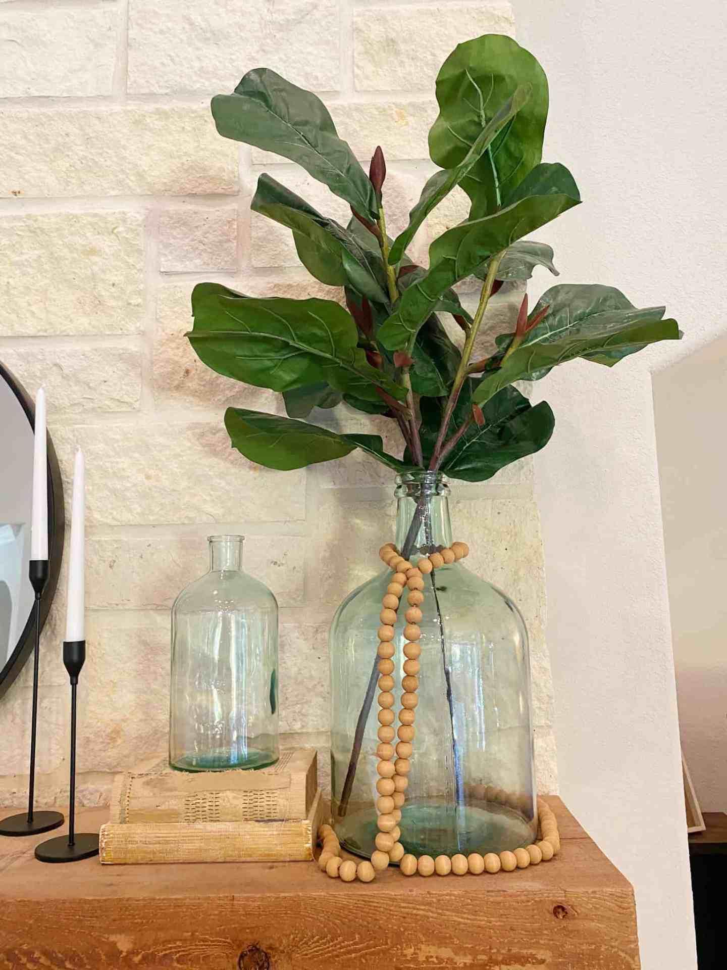fireplace-mantle-decor-faux-fiddle-leaf-fig