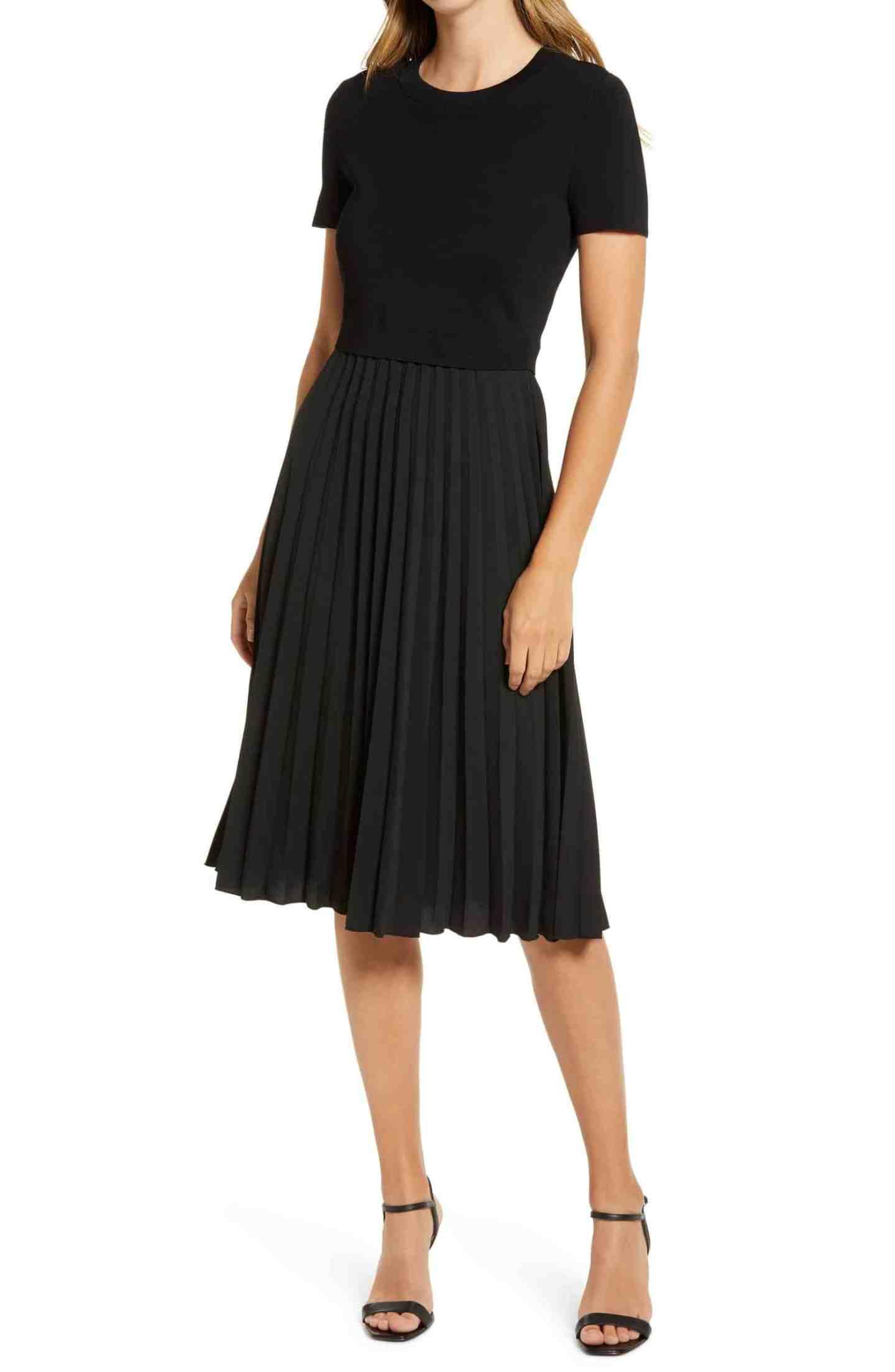 Pleated-Mixed-Media-Dress