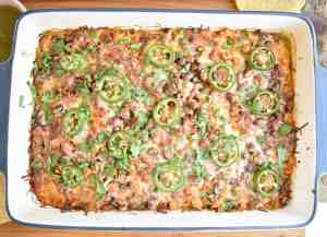 Salsa-Verde-Chicken-Tostada-Casserole-flat-lay