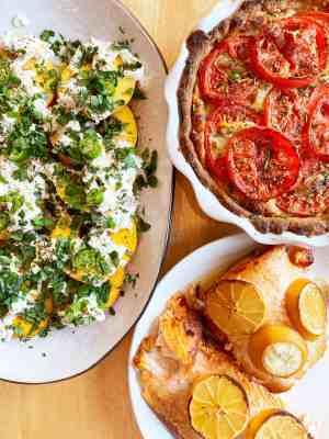 Tomato-Pie-Grilled-Salmon-Peach-Burrata-and-Serrano-Salad