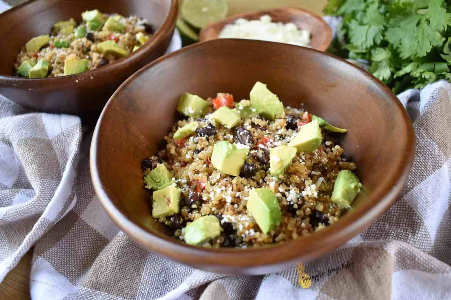 Loaded Mexican Veggie Quinoa with Cilantro Lime Vinaigrette