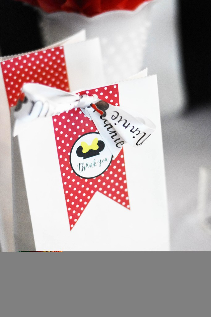 Minnie Mouse Birthday Party Favor Bags made with Cricut