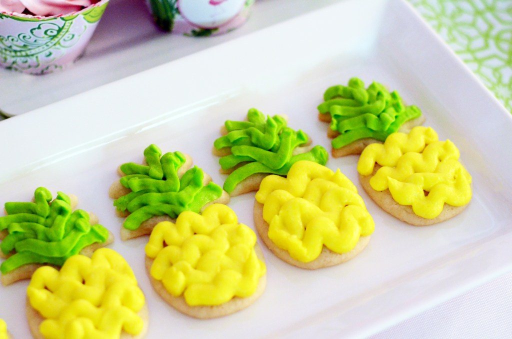 Pineapple Sugar Cookies with Piped Buttercream