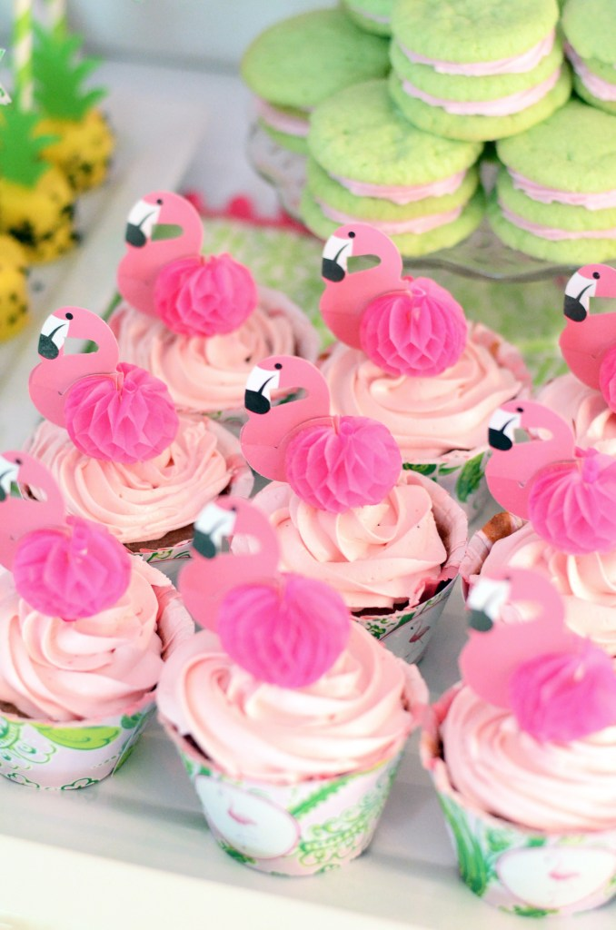Pink Flamingo Cupcakes with Cupcake Toppers and Tropical Cupcake Wrappers