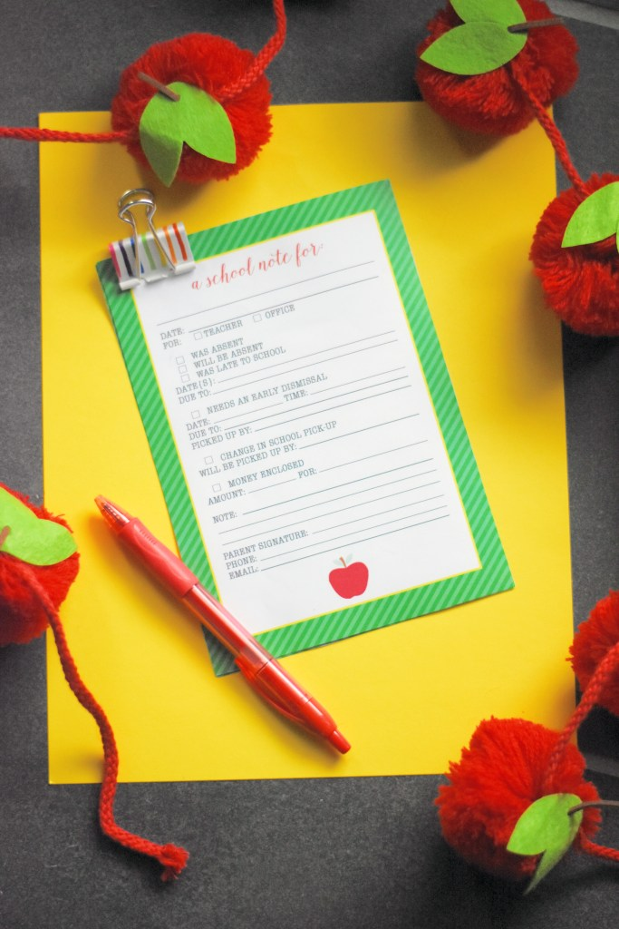 back to school printable note