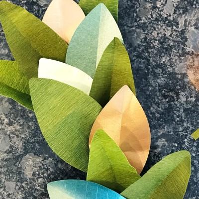 DIY Magnolia Leaf Paper Garland