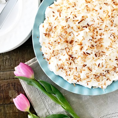 Old Fashioned Coconut Cream Pie Recipe by Pineapple Paper Co.