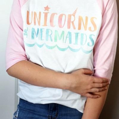 DIY Unicorns and Mermaids Shirt with Cricut Patterned Iron On