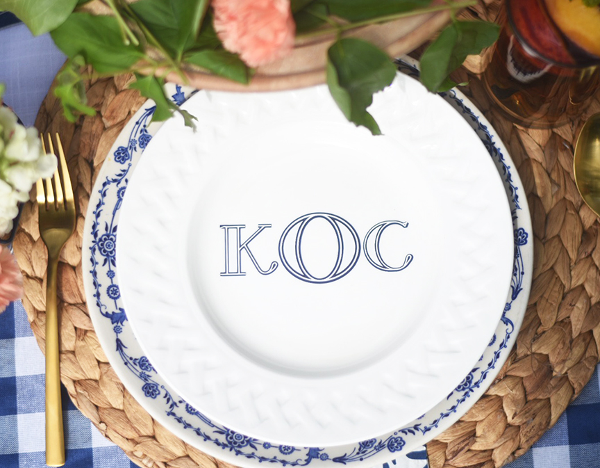 DIY Monogrammed Blue and White Plate by Pineapple Paper Co.