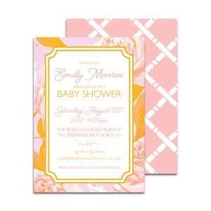 Bright Pink and Orange Floral Baby Shower Invitation by Pineapple Paper Co.