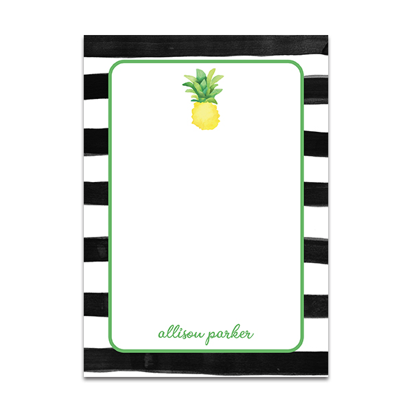 Black and White Striped Personalized Notepad with Watercolor Pineapple