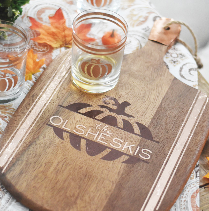 DIY Wood Tray with Pumpkin and DIY Pumpkin Glass