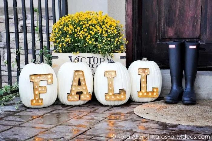 Marquee Lit Fall Pumpkins