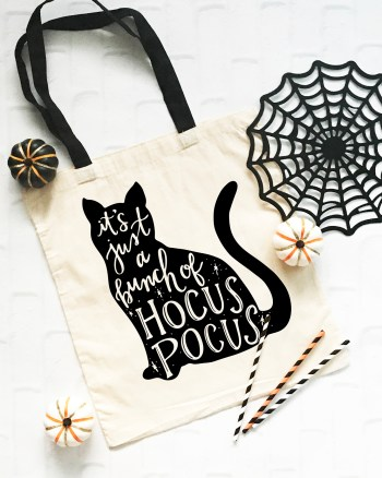 Hocus Pocus Black Cat on Trick or Treat Bag - Pineapple Paper Co.