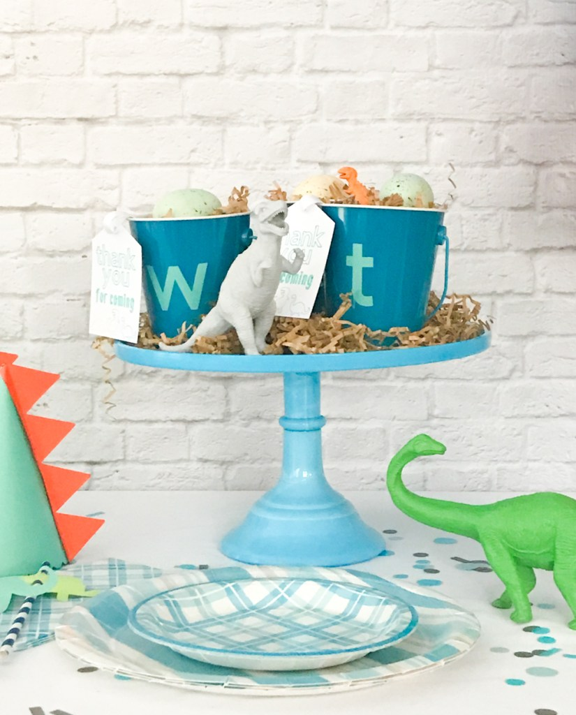 Blue Cake Stand with DIY Dinosaur Party Favors and Martha Stewart Celebrations