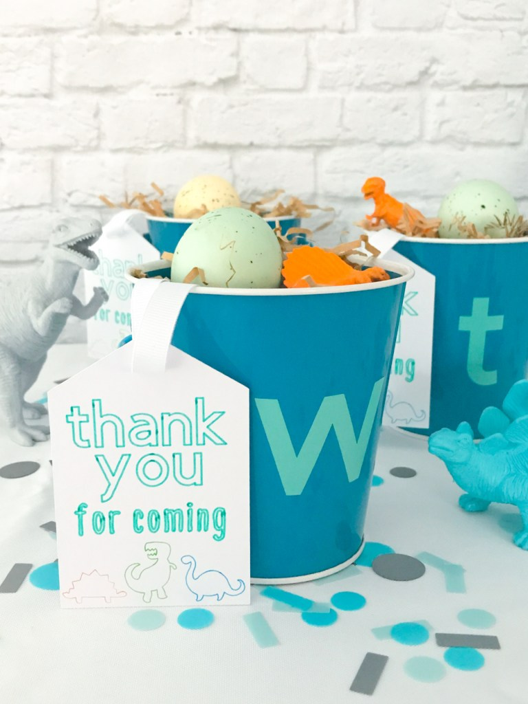 DIY Dinosaur Party Favors in bucket with Cricut tag by Pineapple Paper Co.