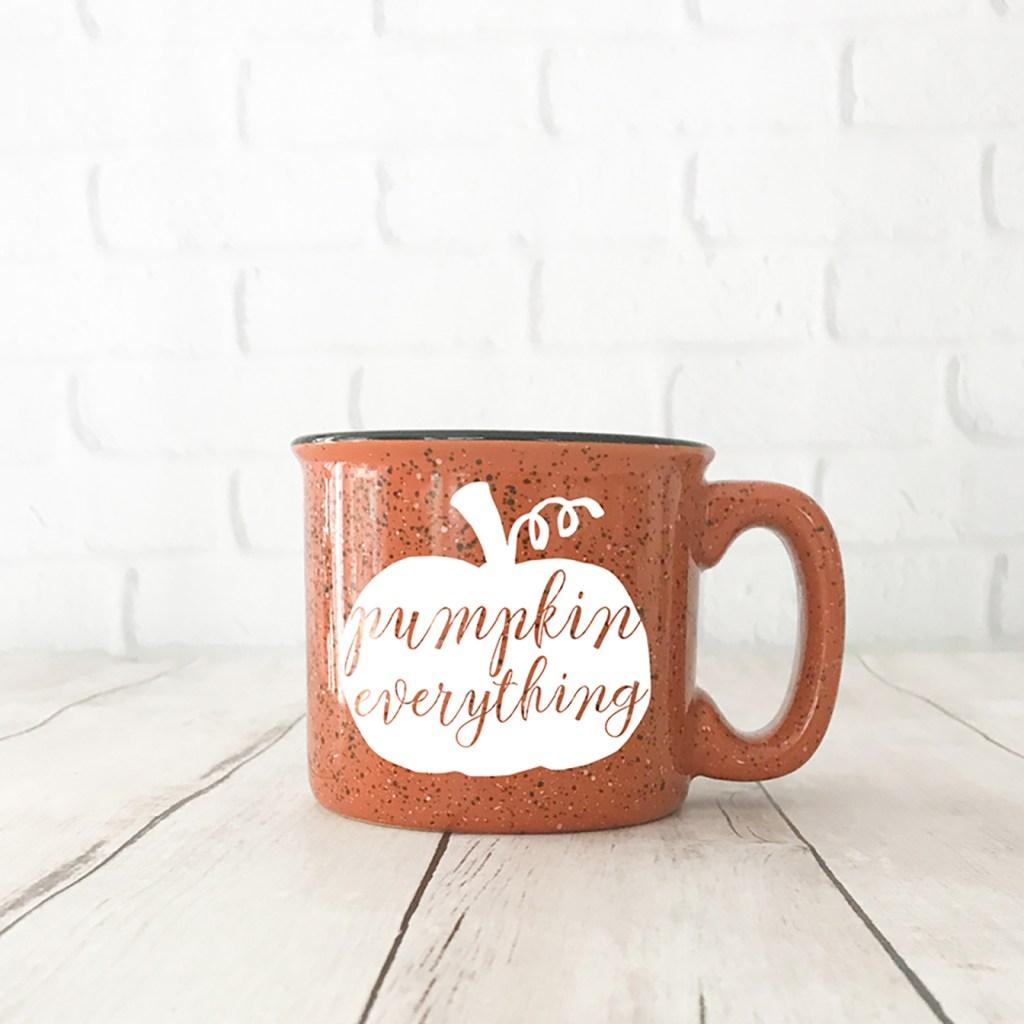 Orange DIY Pumpkin Everything Mug with White Pumpkin SVG by Pineapple Paper Co.