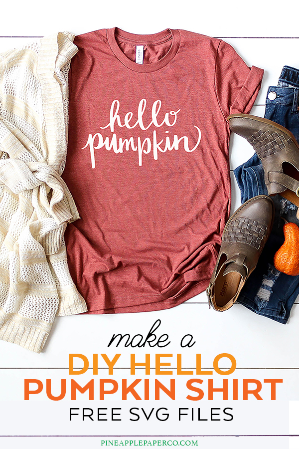 Hello Pumpkin Shirt and Mug - FREE SVG Files by Pineapple Paper Co.