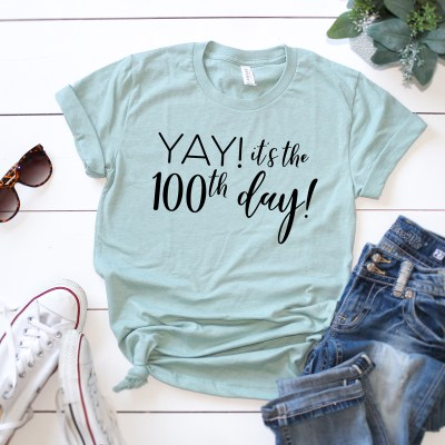 Make a 100th Day of School Shirt with a FREE SVG!