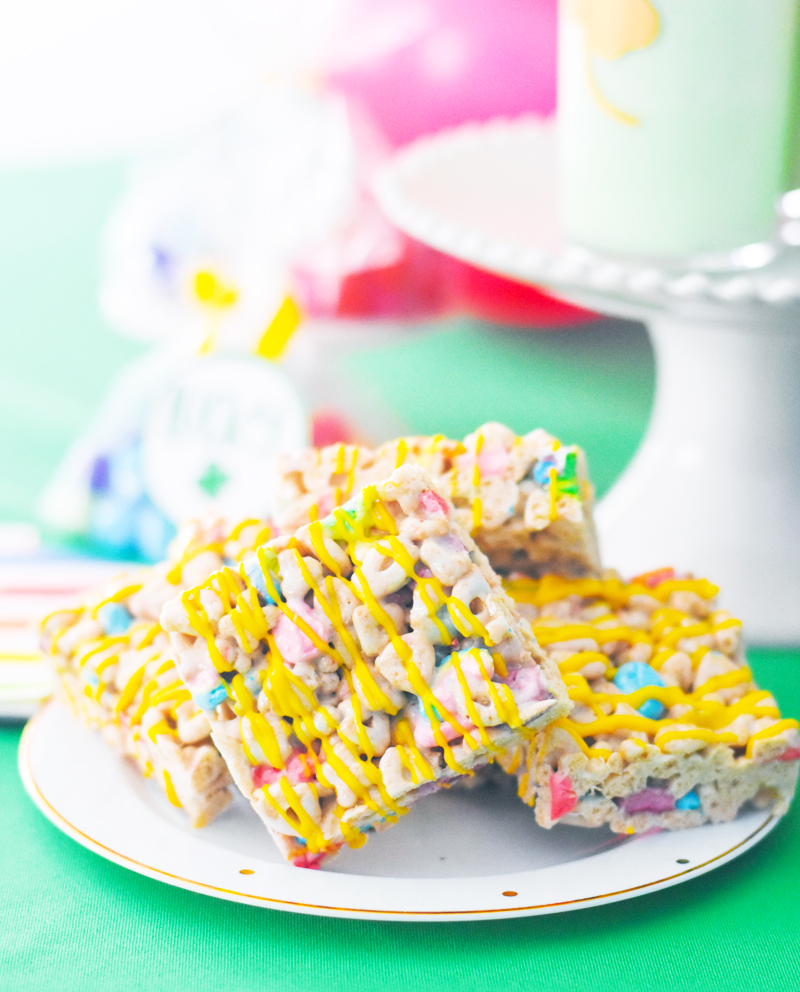 Lucky Charms Rice Krispie Marshmallow Treats Recipe by Pineapple Paper Co.