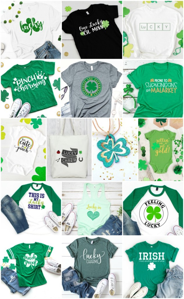 FREE St. Patrick's Day SVG on Green Shirt or Grid designed by Pineapple Paper Co.