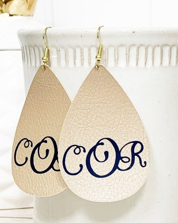 Monogrammed Leather Earrings Cricut