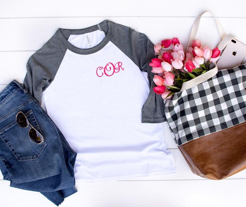Monogram Shirt with Flowers Cricut Iron On