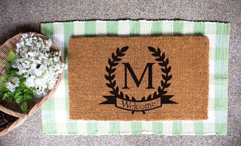 Monogram Doormat made with Cricut Explore Air 2