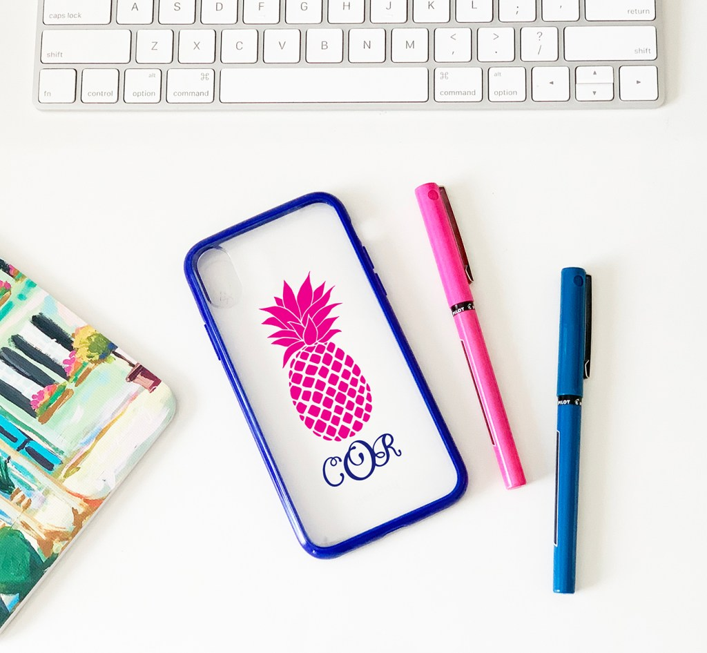 Custom Personalized Phone Case with Pineapple and Monogram with Cricut Vinyl