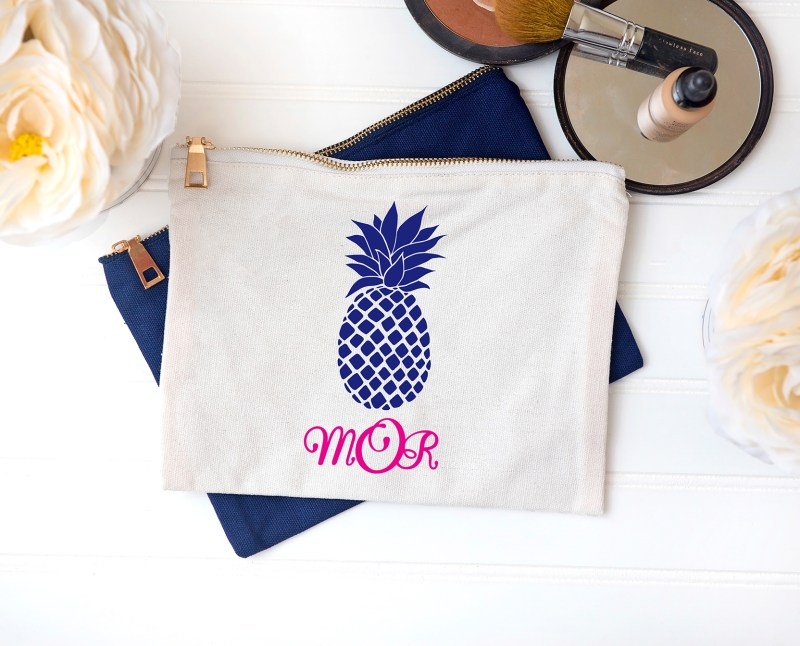 Cosmetic Makeup Bag with Pineapple and Monogram Cricut Iron On