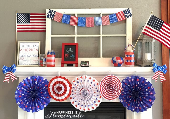 Quick & Easy 4th of July Mantel Decorations