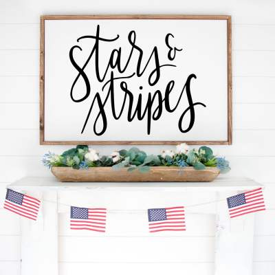 Free Stars and Stripes SVG to make a DIY Patriotic Farmhouse Sign