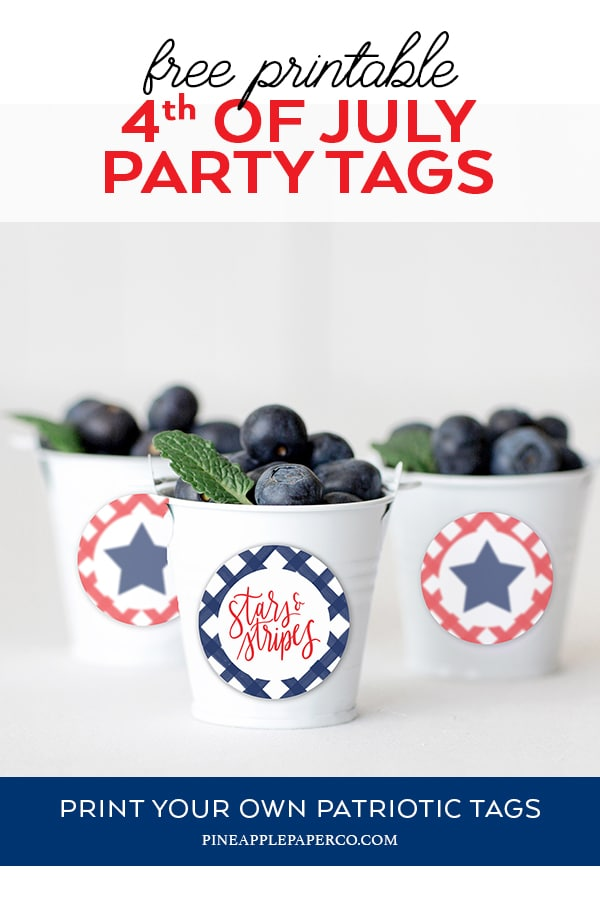 Free Patriotic 4th of July Printable Cupcake Toppers and Party Tags by Pineapple Paper Co.