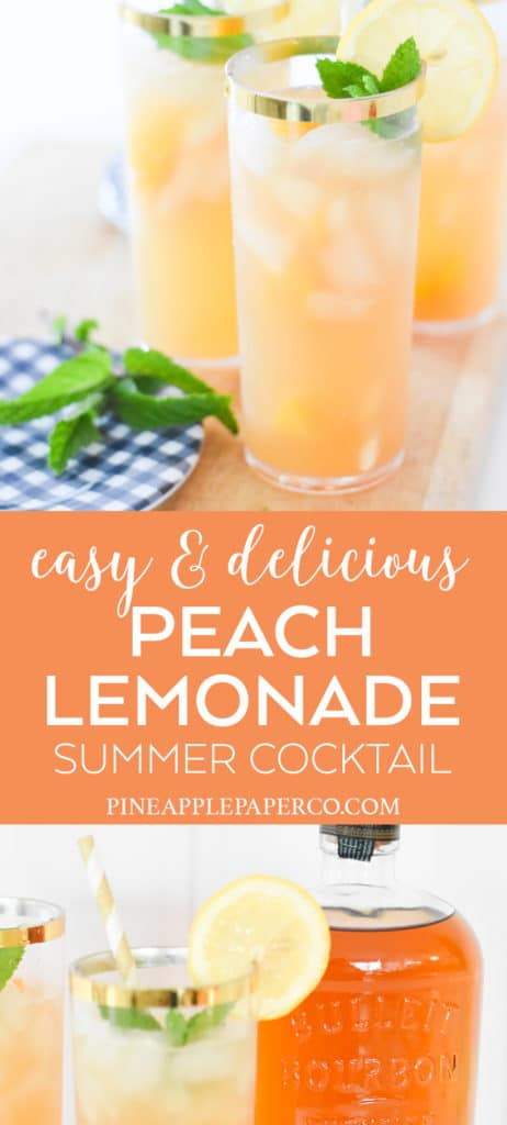 Bourbon Peach Lemonade Recipe by Pineapple Paper Co.