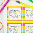 Bright School Year Free Printable Tags