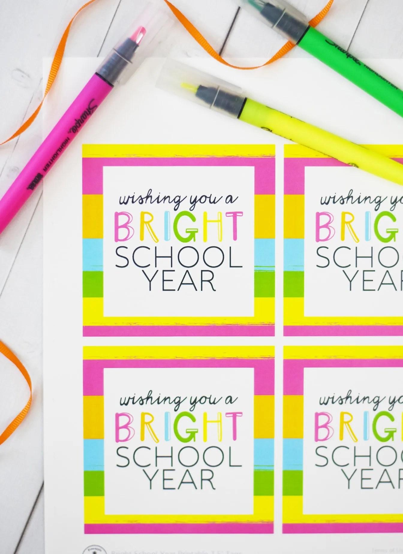 Bright School Year Free Printable Tags