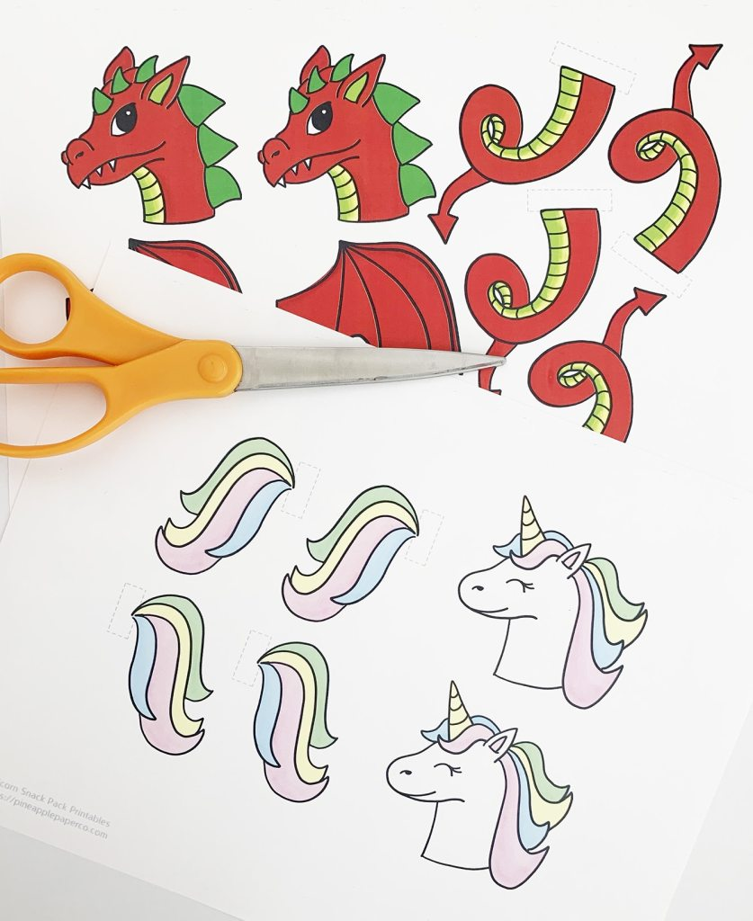 Free Unicorn & Dragon Printables by Pineapple Paper Co.