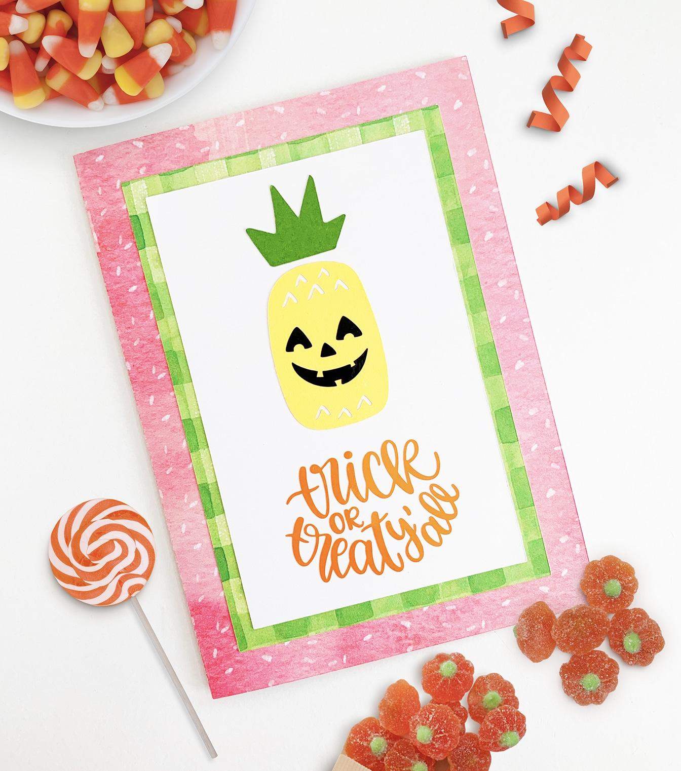 diy halloween greeting cards  handmade cards  pineapple