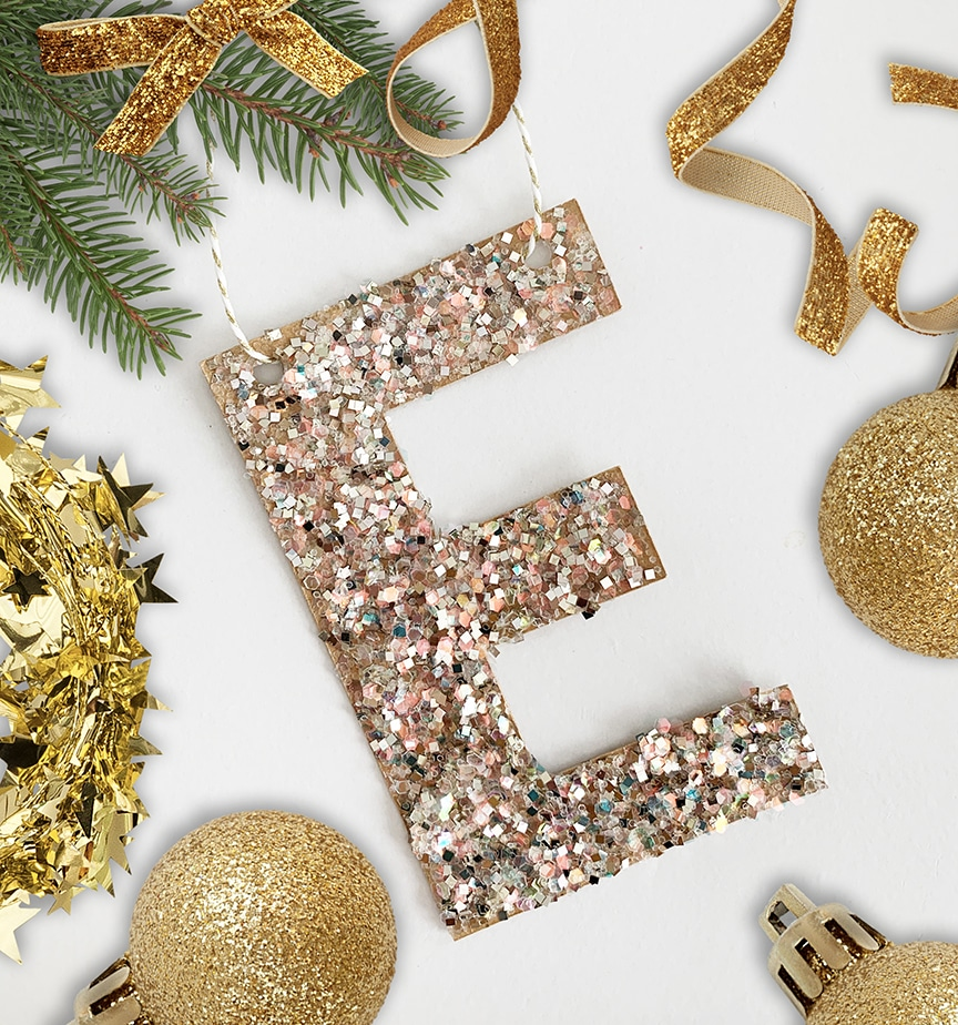 Diy Glitter Letter Ornament Pottery Barn Inspired Pineapple Paper Co