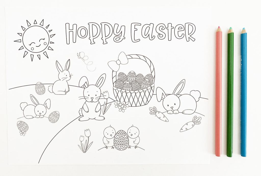 Hoppy Easter Bunny Coloring Page by Pineapple Paper Co.