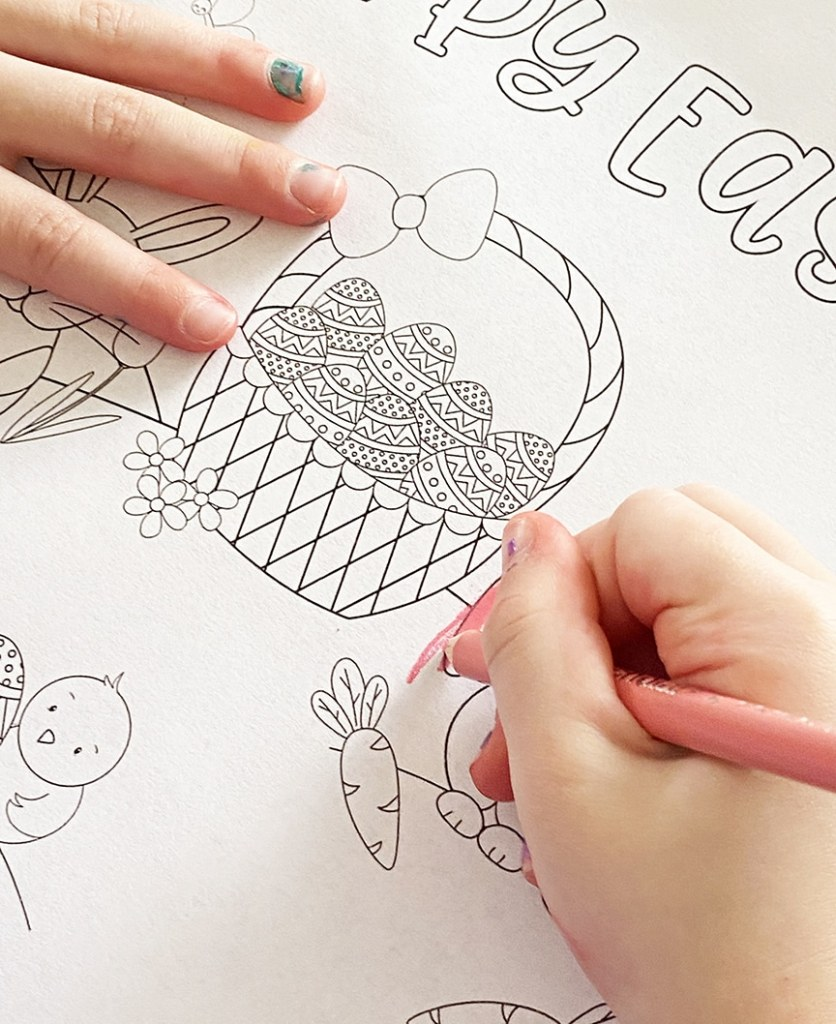 Preschooler Coloring Free Printable Easter Bunny Coloring Page by Pineapple Paper Co.
