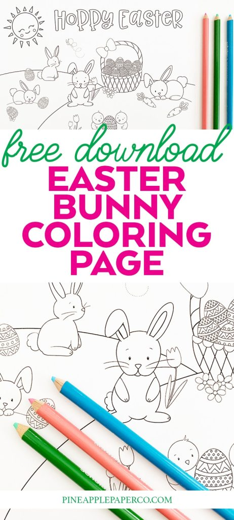 Free Printable Easter Bunny Coloring Page by Pineapple Paper Co.